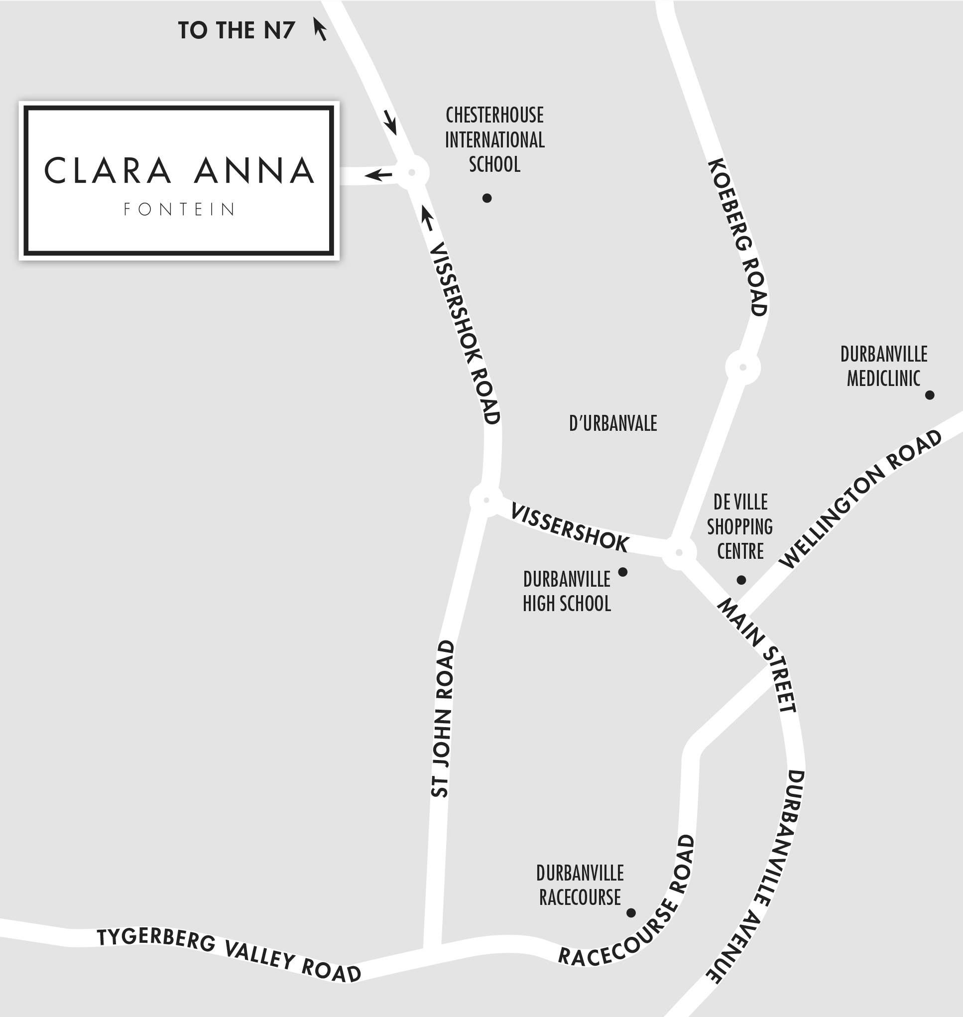 Directions map to Clara Anna Fontein